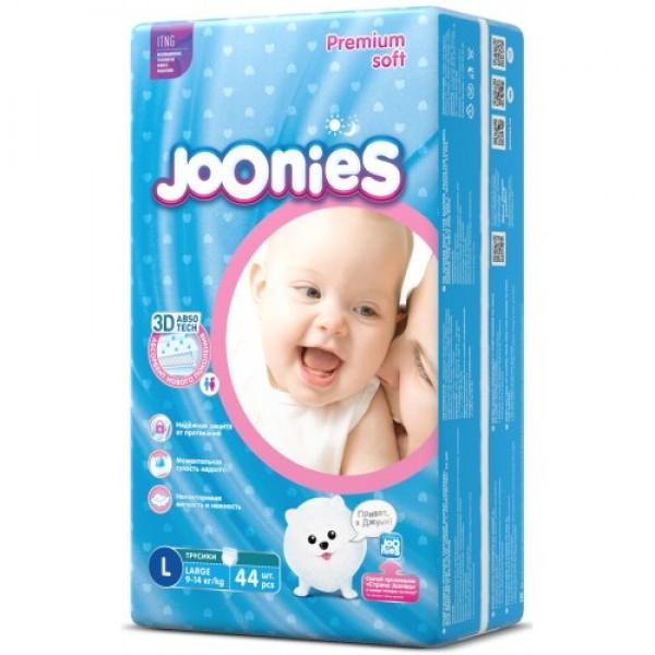Купить Joonies трусики L (9-14 кг) 44 шт., Подгузники-трусики Joonies L (9-14 кг), 44 шт.,