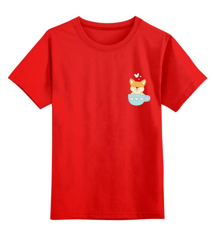 Купить 0000003318179, Детская футболка Printio Корги цв.красный р.104,