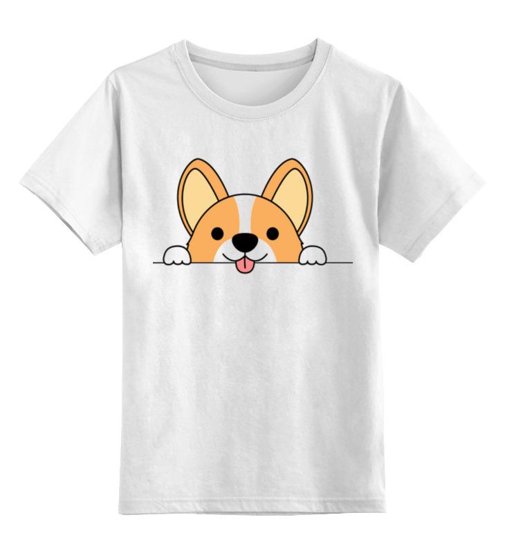 Купить 0000003318206, Детская футболка Printio Корги цв.белый р.104,