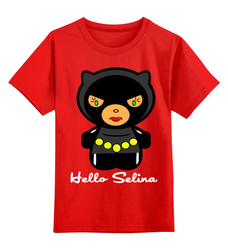 Купить 0000003321212, Детская футболка Printio Hello selina цв.красный р.104,