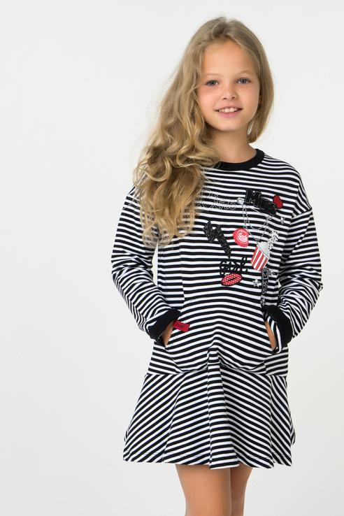 Купить 4977, Платье Mayoral для девочек, цв. черный, р-р 122, Платья для девочек