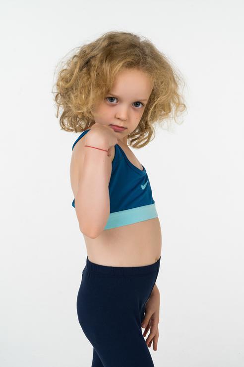 Топ Nike для девочек, цв. голубой,