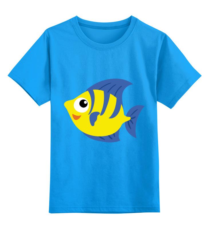 Купить 0000003395102, Детская футболка Printio Рыбка цв.голубой р.164,