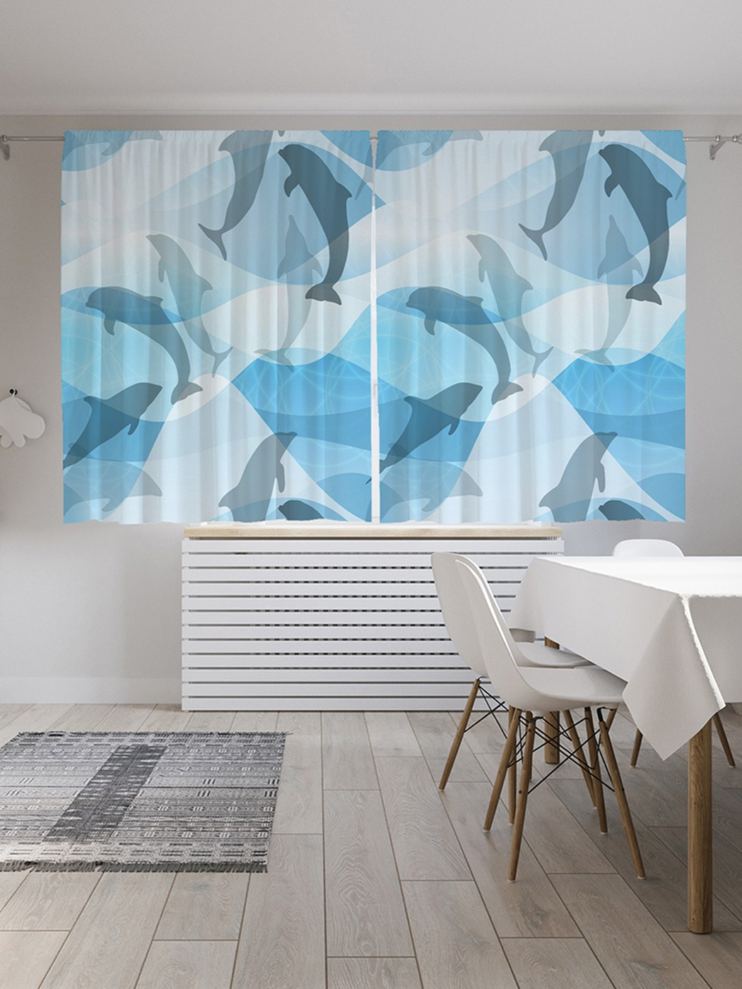 Шторы под лён «Спящие дельфины», серия Oxford DeLux, 290х180 см