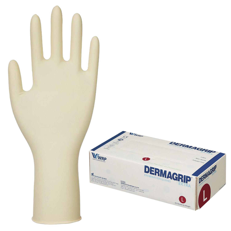 Купить Перчатки латексные смотровые Dermagrip Extra D1403-04, 25 пар (50 шт.) L