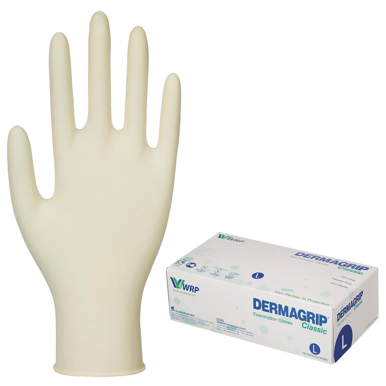 Купить Перчатки латексные смотровые Dermagrip Classic D1503-10, 50 пар неопудренные, хлоринация L