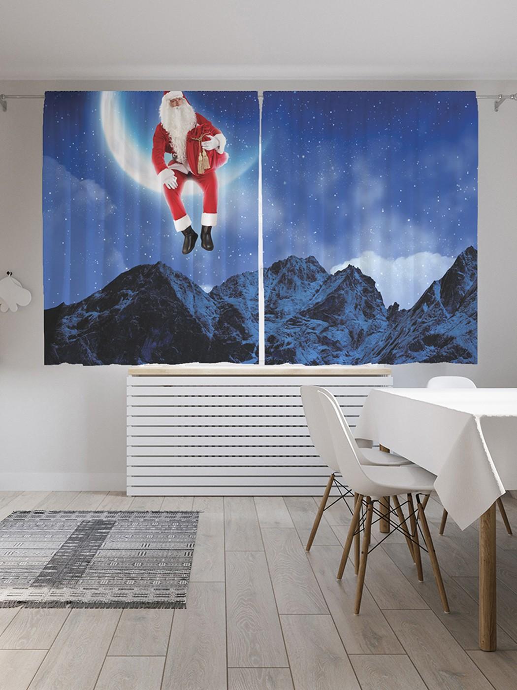 Шторы под лён «Санта на луне», серия Oxford DeLux, 290х180 см фото