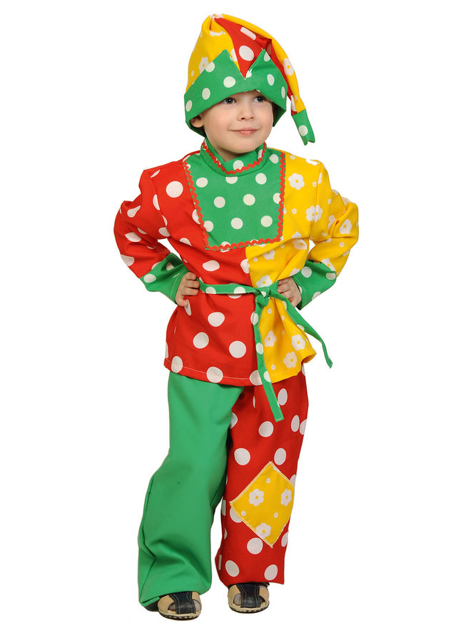 Купить 5039, Карнавальный костюм Карнавалофф Петрушка, цв. разноцветный р.122,