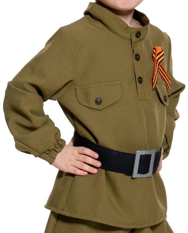 Карнавальный костюм Карнавалофф Военный, цв. хаки р.122