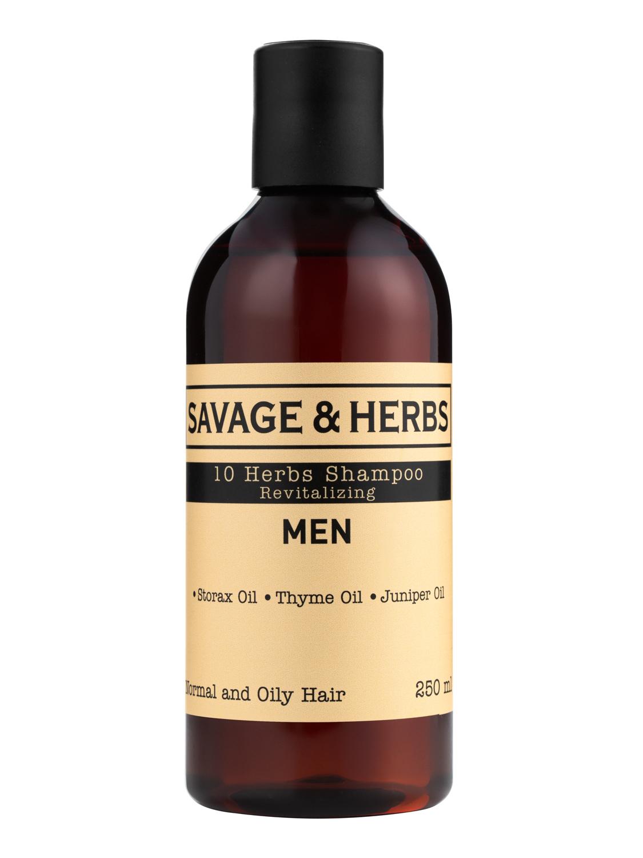 Купить Мужской Восстанавливающий шампунь Savage&Herbs с 10 травами для нормальных волос, 250 мл