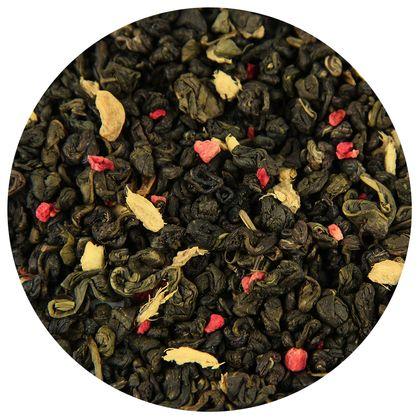 Зеленый чай Малина со сливками и имбирём, 100 г фото