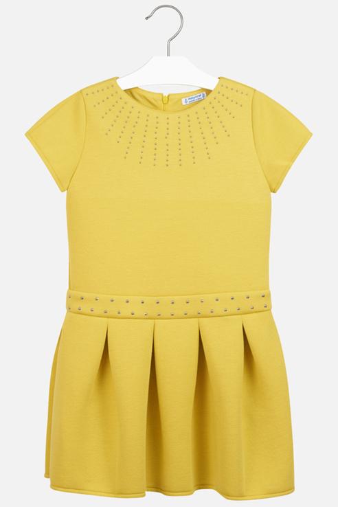 Купить 7939, Платье Mayoral для девочек, цв. желтый, р-р 128, Платья для девочек