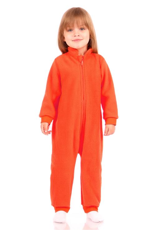 Купить 1ЯЗД056, Флисовый комбинезон Lynxy для девочек, цв. оранжевый, р-р 98, Повседневные комбинезоны для девочек