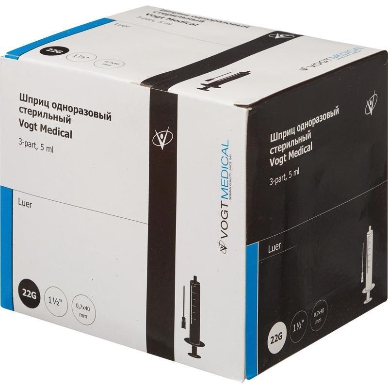 Купить Шприц одноразовый стерильный Vogt Medical 5 мл с иглой 22G 1 1/2 0, 7*40мм luer 100 шт.