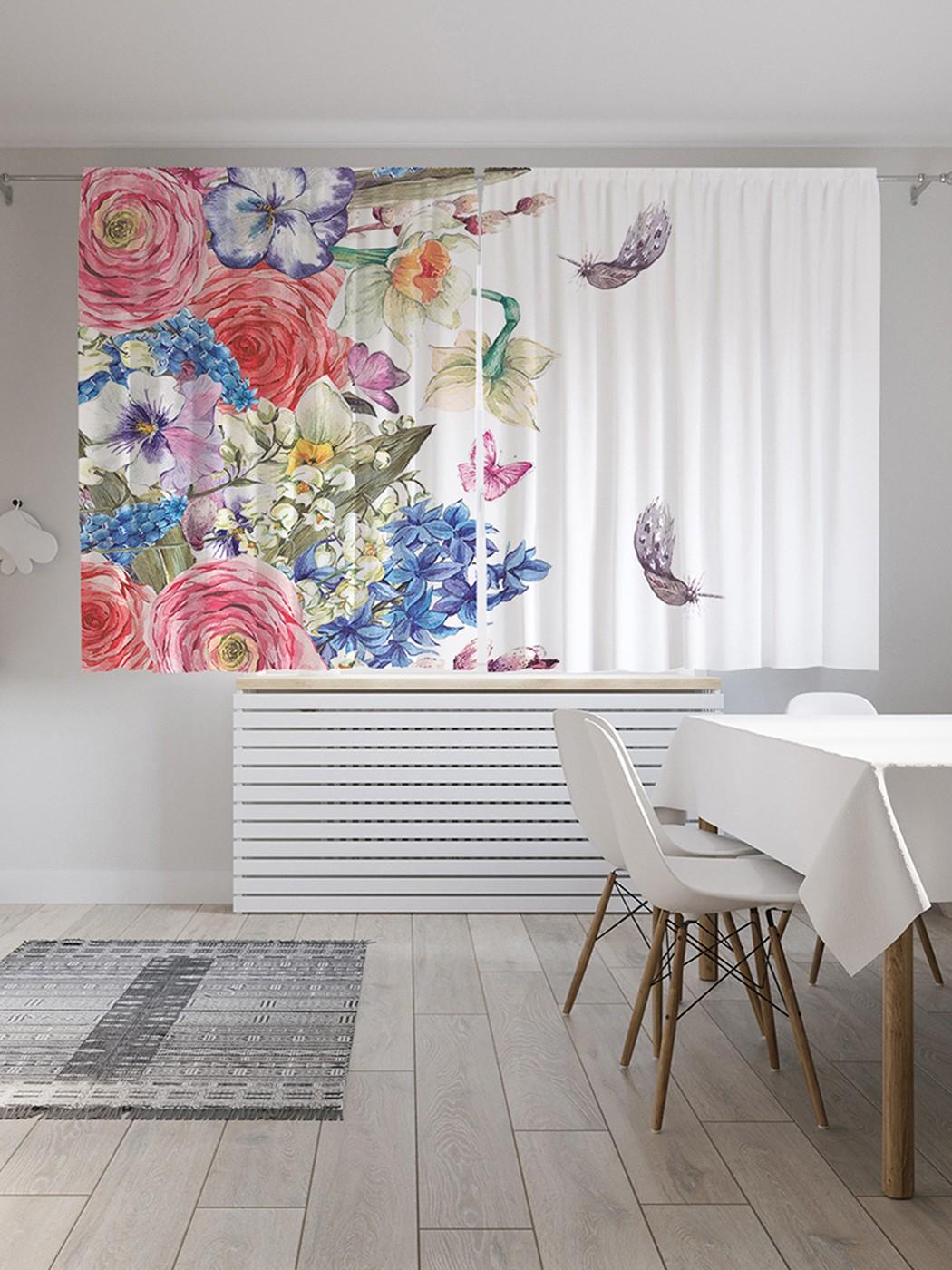Шторы под лён «Весенние цветы», серия Oxford DeLux, 290х180 см фото