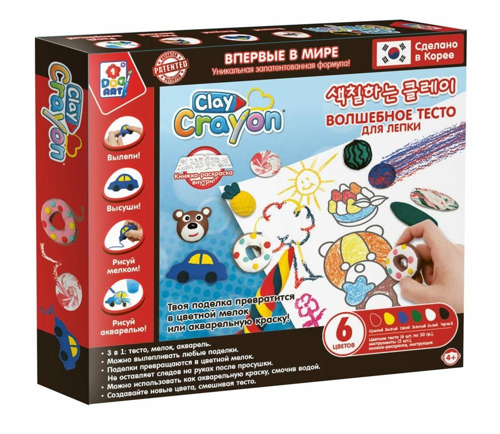 Купить Clay Crayon Набор тесто мелки для лепки и рисования (6 цветов по 30 гр) Т19004 1Toy Art, Набор тесто-мелков 1TOY Art Clay Crayon Т19004 6 цветов по 30 г, 1 TOY,