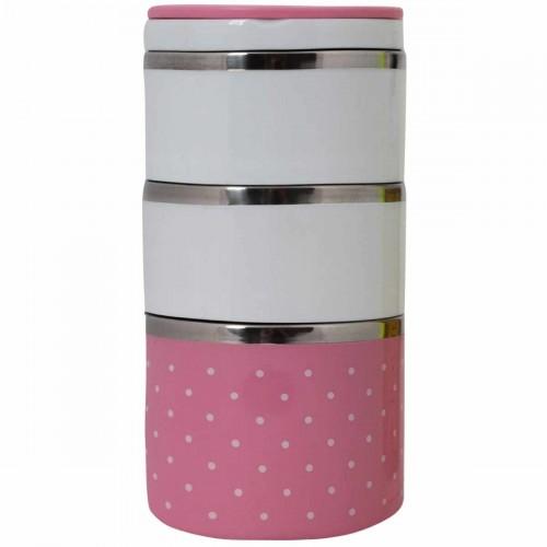 Термо ланч-бокс, 3 секции, 1230 мл, бело-розовый