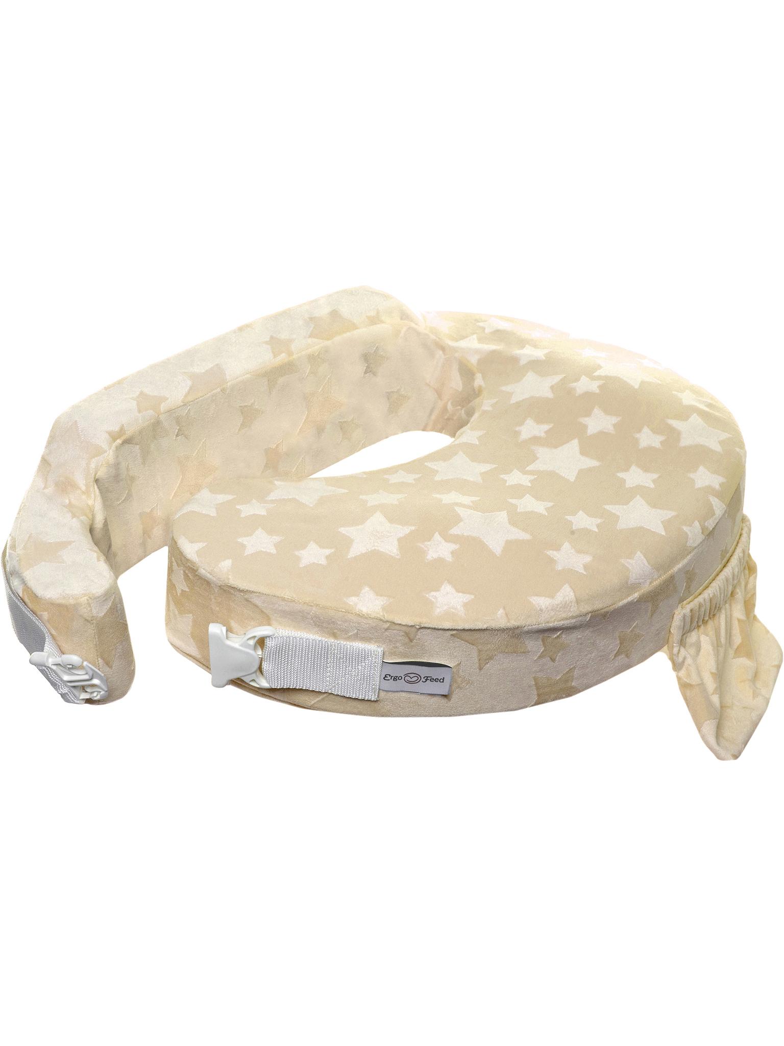 Подушка для кормления эргономичная ErgoFeed Звезды, бежевый