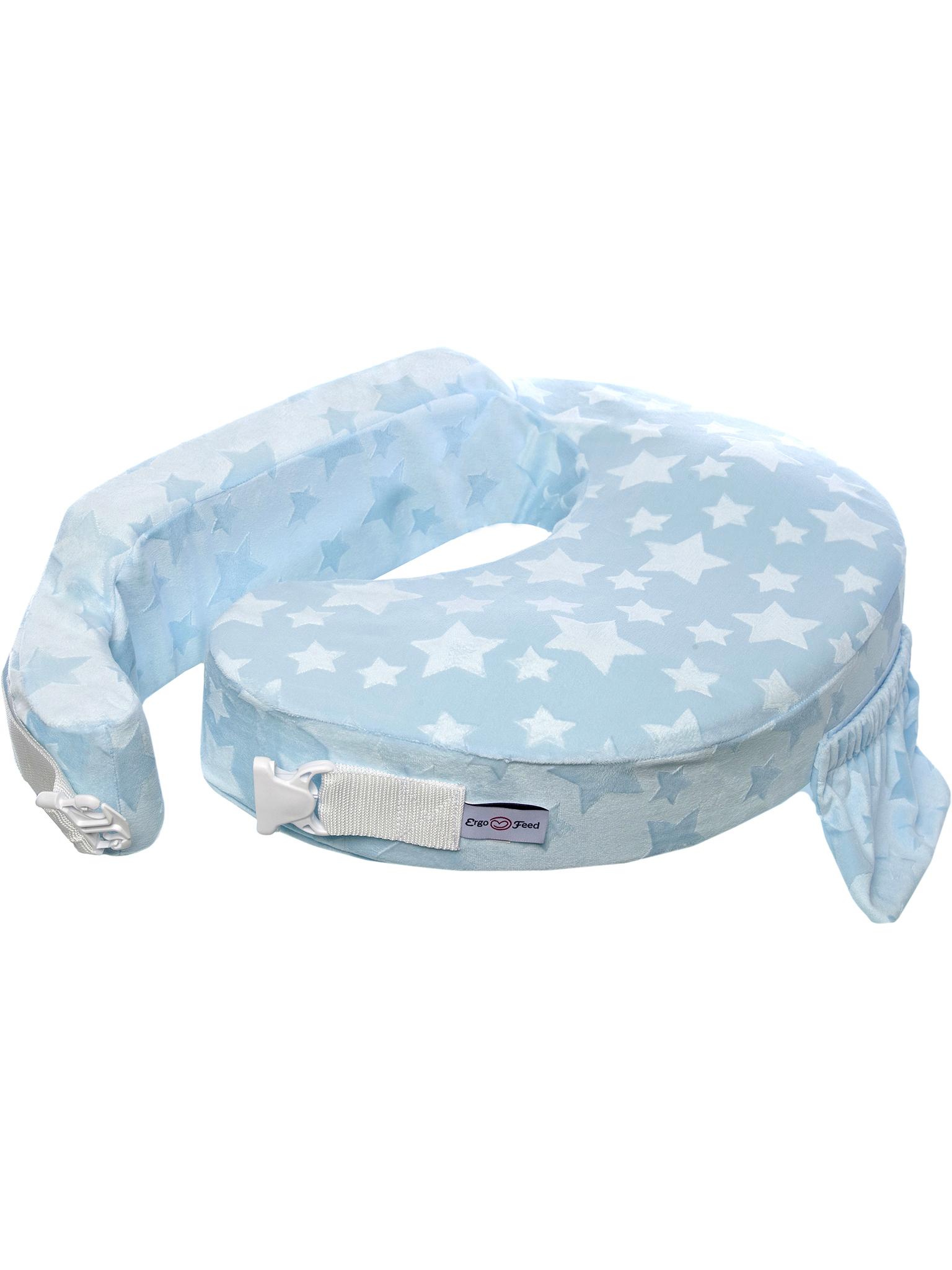 Подушка для кормления эргономичная ErgoFeed Звезды, голубой