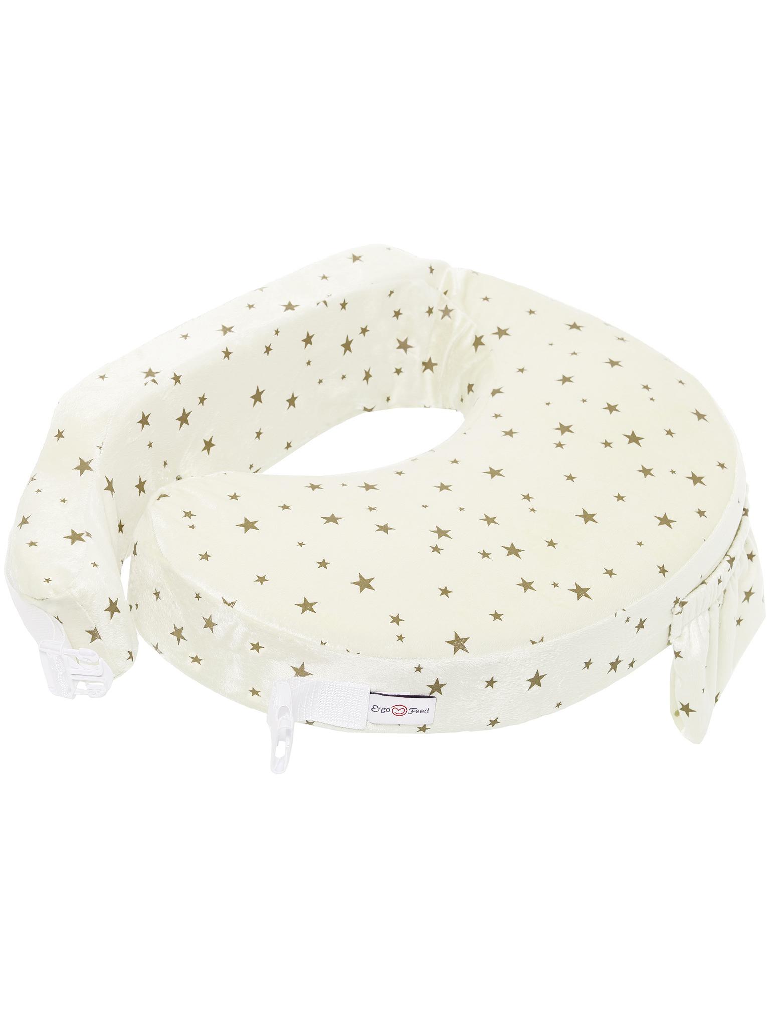 Подушка для кормления эргономичная ErgoFeed Звездное небо, молочный фото