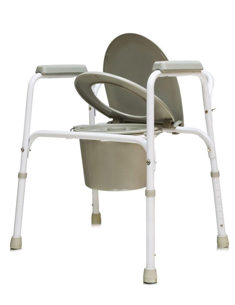 Кресло туалет Amrus AMCB6803, со спинкой, стальное