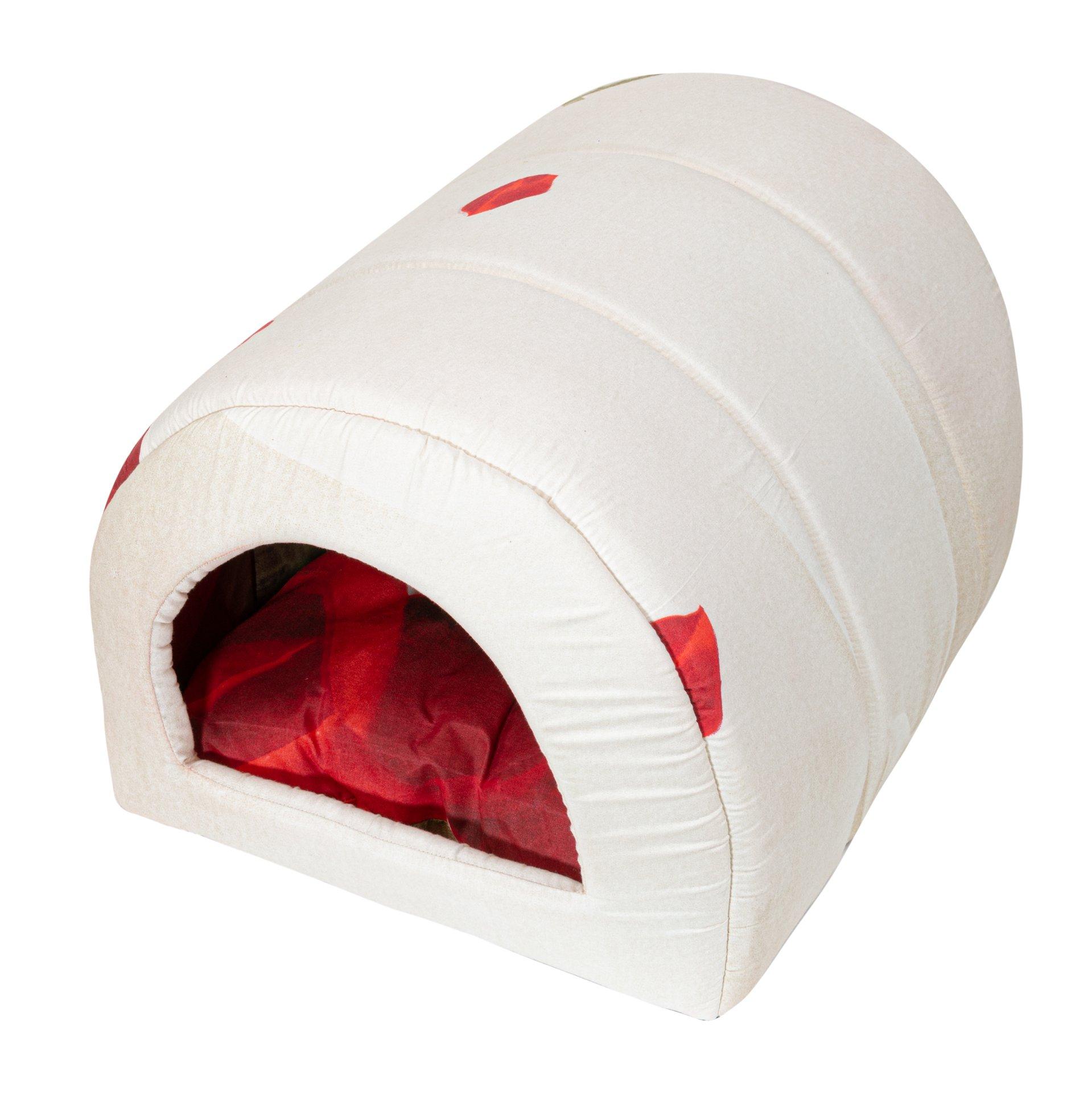 Домик для кошек и собак Xody Тоннель №2, эконом, белый, красный, 50x32x30см