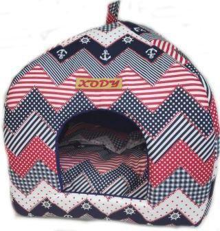 Домик для кошек и собак Xody Виг-Вам №2, хлопок, черный, белый, красный, 39x39x45см