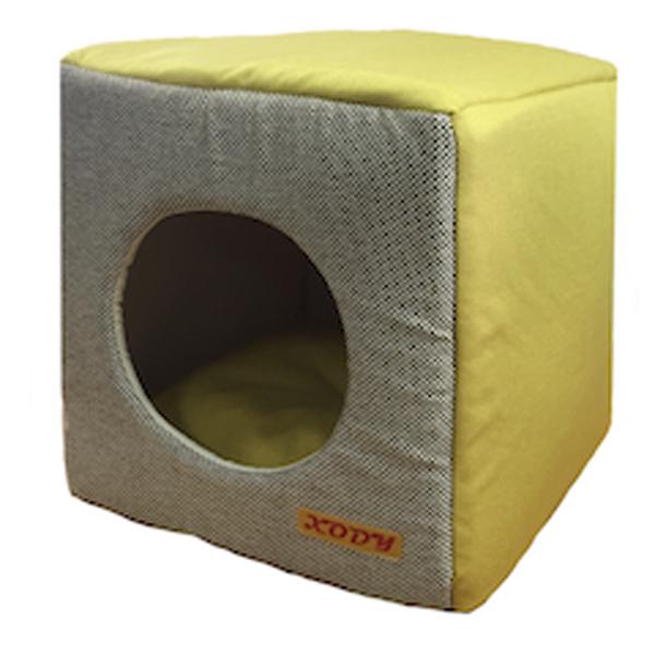 Домик для кошек и собак Xody Куб трансформер №2, флок, OLIVE, желтый, 30x33x30см