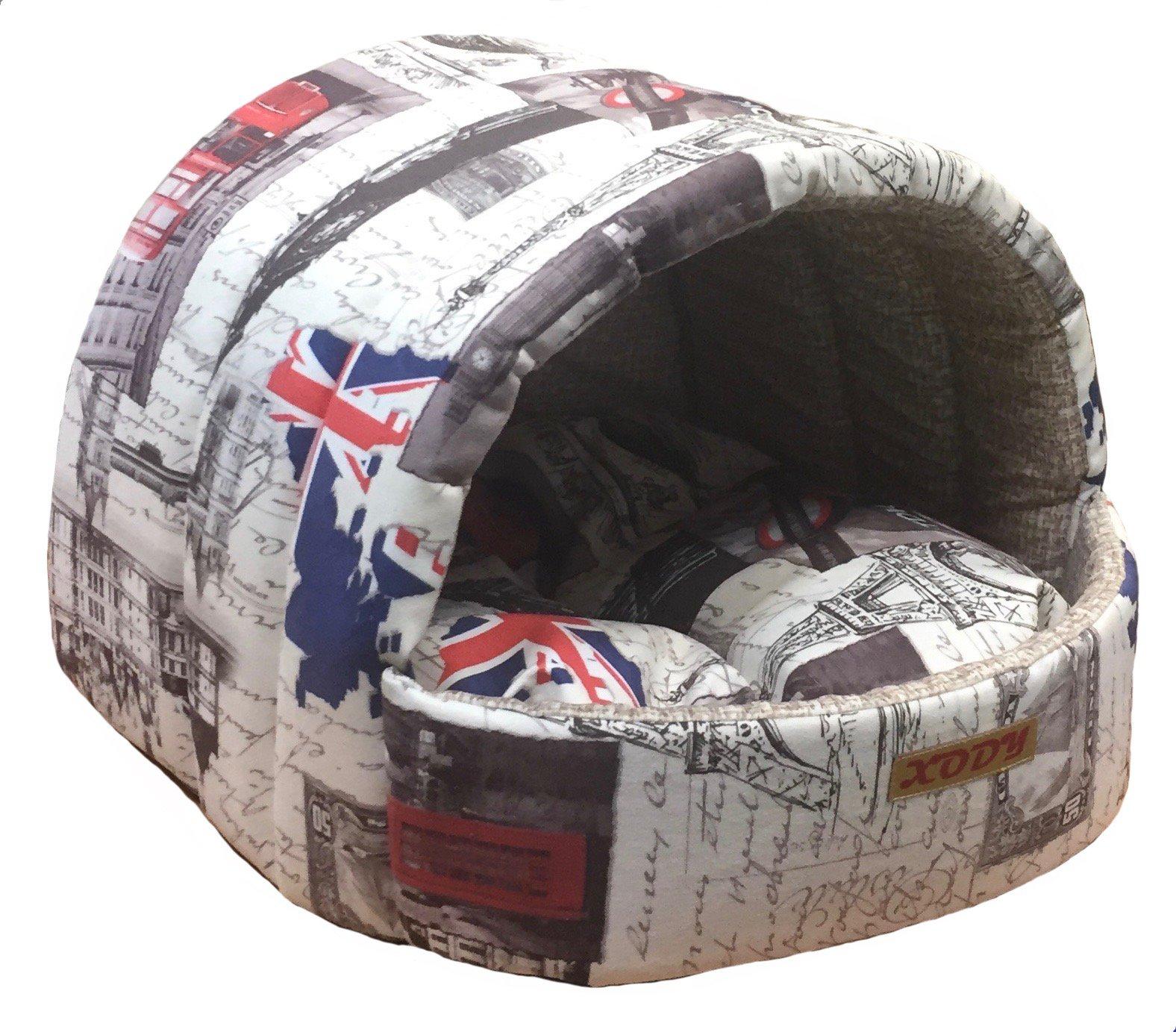 Домик для кошек и собак Xody Эстрада №2, флок, Лондон, бежевый, 44x40x50см