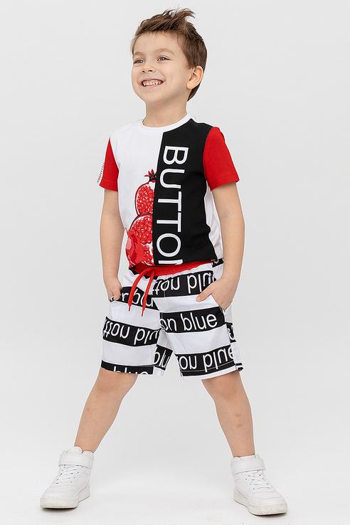 Купить 120BBBF81010020, Купальные шорты Button Blue для мальчиков, цв. белый, р-р 152,