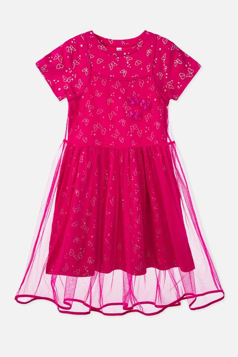 Купить 120123009, Платье PlayToday для девочек, цв. розовый, р-р 134, Play Today, Платья для девочек