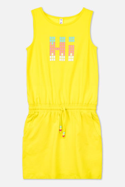 Купить 220122020, Платье PlayToday для девочек, цв. желтый, р-р 134, Play Today, Платья для девочек