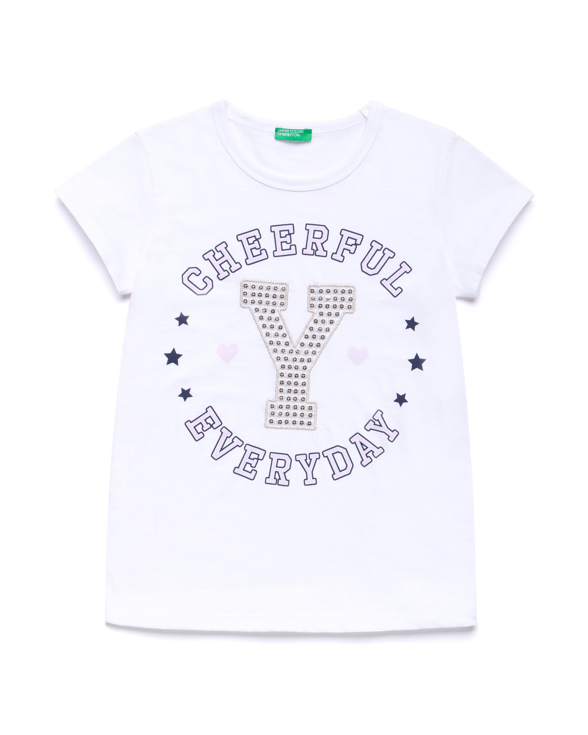Купить 20P_3096C14KI_101, Футболка для девочек Benetton 3096C14KI_101 р-р 140, United Colors of Benetton, Футболки для девочек