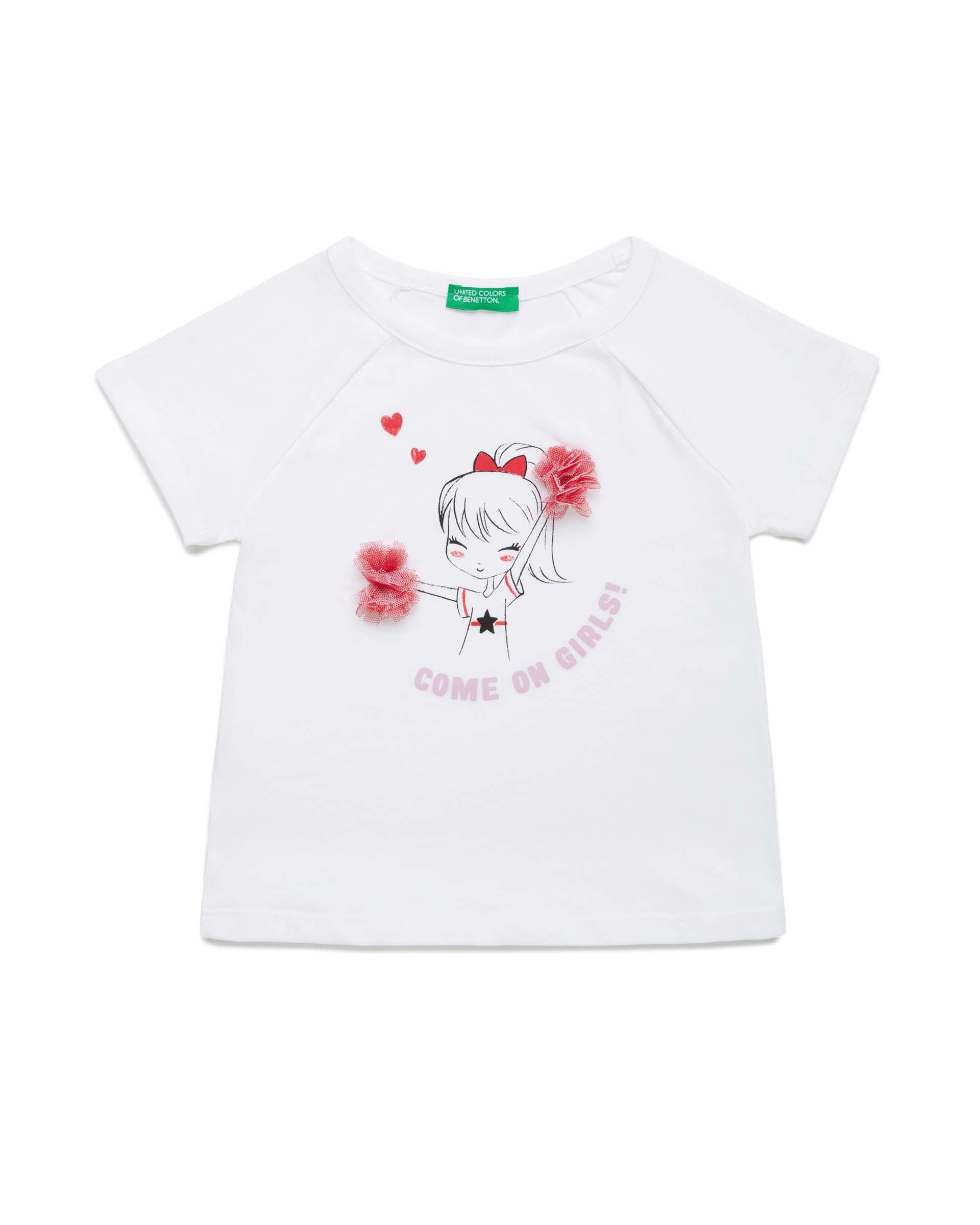 Купить 20P_3096C1APP_101, Футболка для девочек Benetton 3096C1APP_101 р-р 80, United Colors of Benetton, Кофточки, футболки для новорожденных