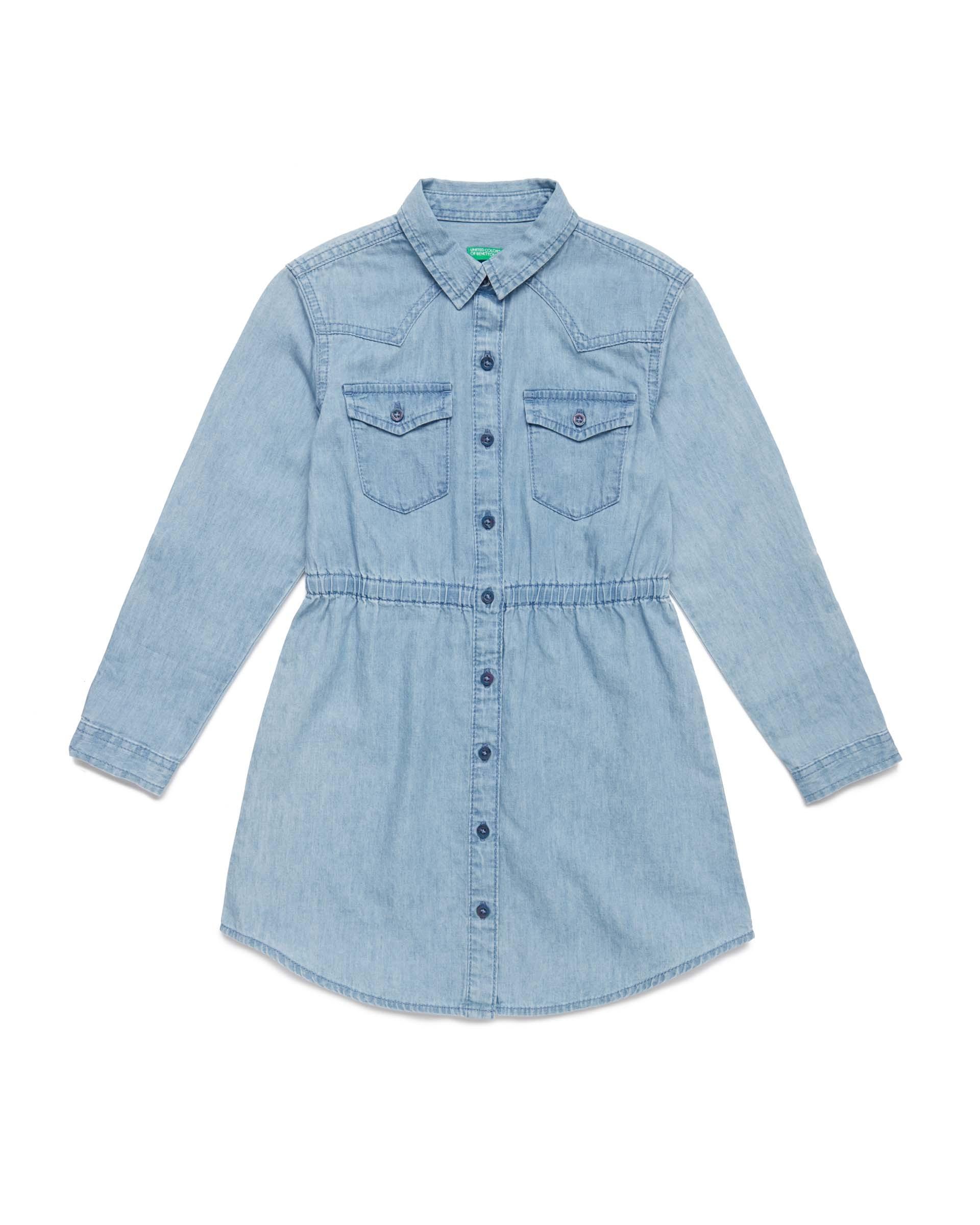 Купить 20P_4DHJ5VDE0_902, Джинсовое платье-рубашка для девочек Benetton 4DHJ5VDE0_902 р-р 140, United Colors of Benetton, Платья для девочек
