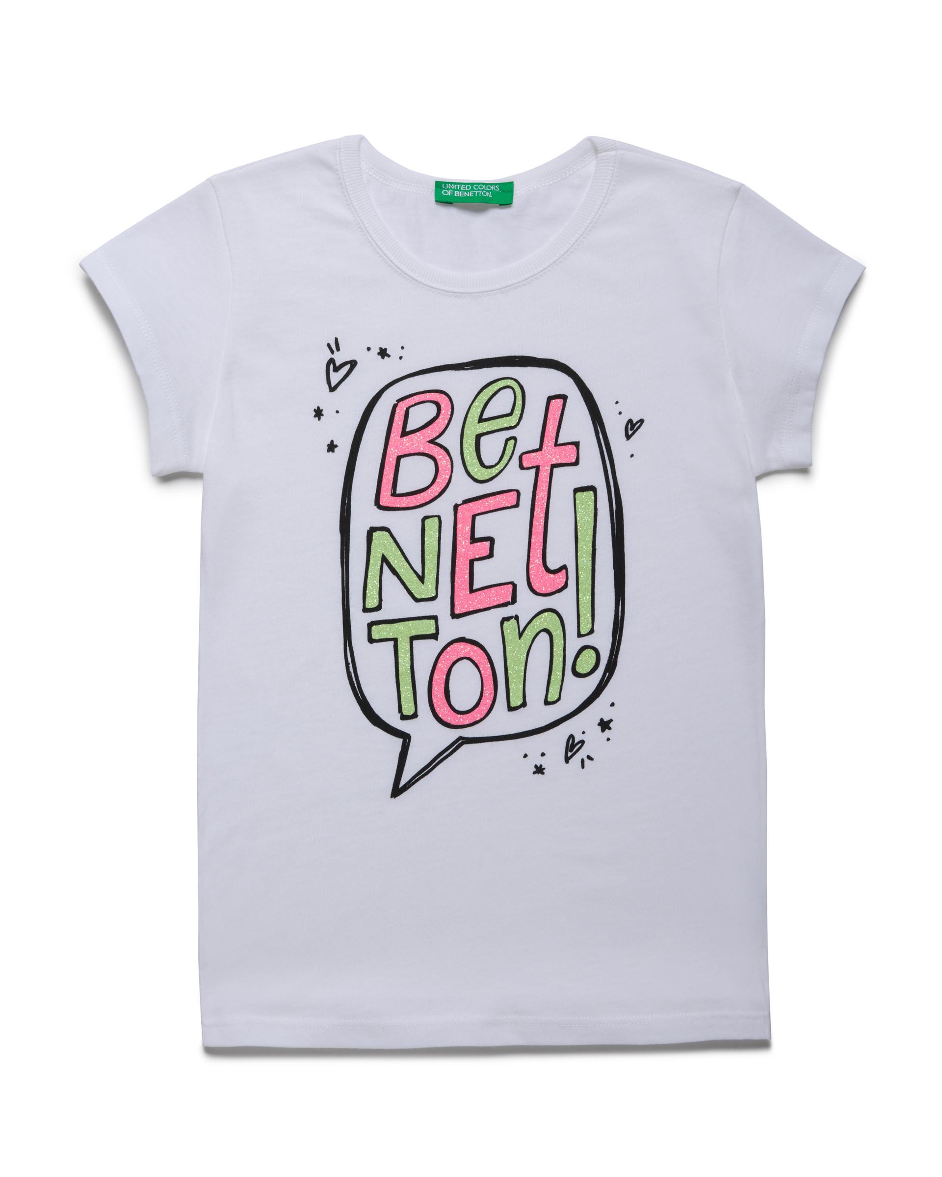 Купить 20P_3096C14J1_101, Футболка для девочек Benetton 3096C14J1_101 р-р 110, United Colors of Benetton, Футболки для девочек