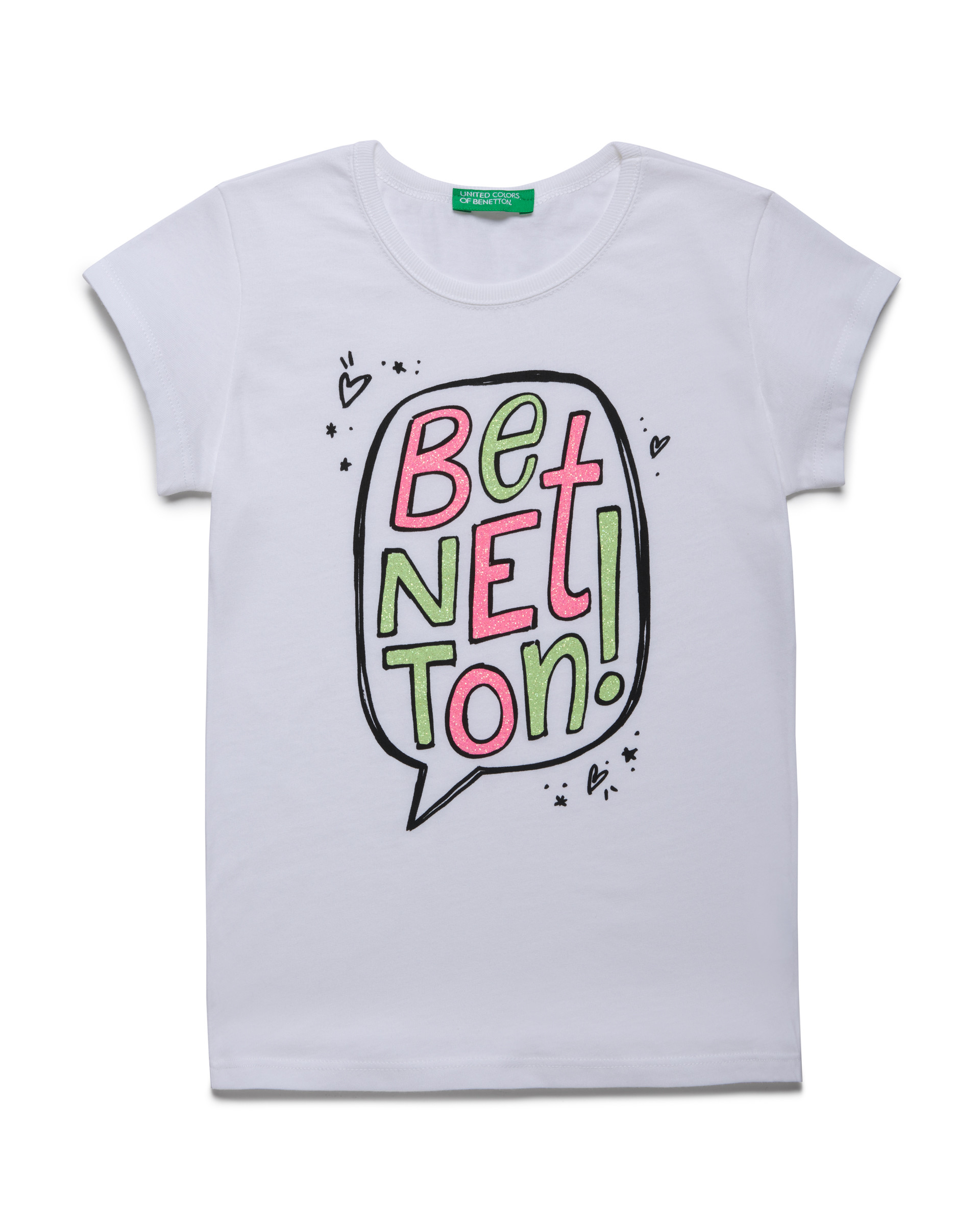 Купить 20P_3096C14J1_101, Футболка для девочек Benetton 3096C14J1_101 р-р 122, United Colors of Benetton, Футболки для девочек