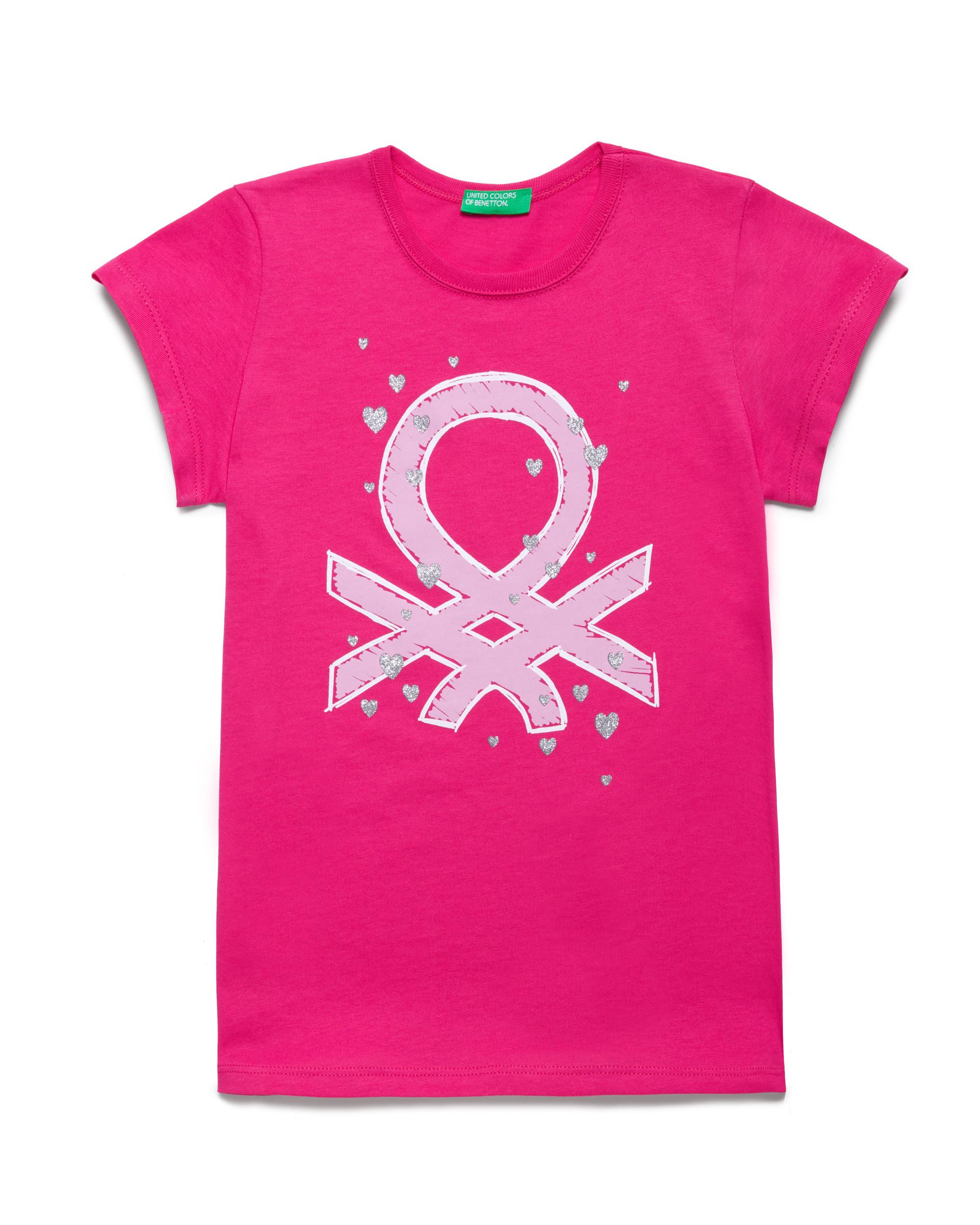 Купить 20P_3096C14J1_2L3, Футболка для девочек Benetton 3096C14J1_2L3 р-р 140, United Colors of Benetton, Футболки для девочек