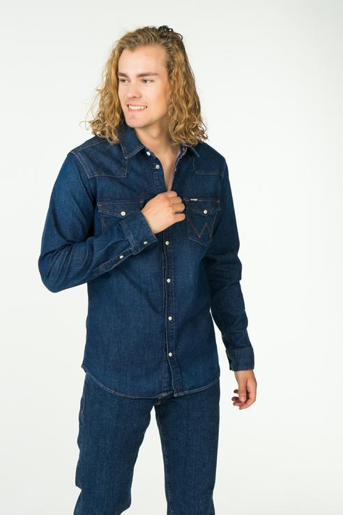 Джинсовая рубашка мужская Wrangler W59837TZ3 синяя 48