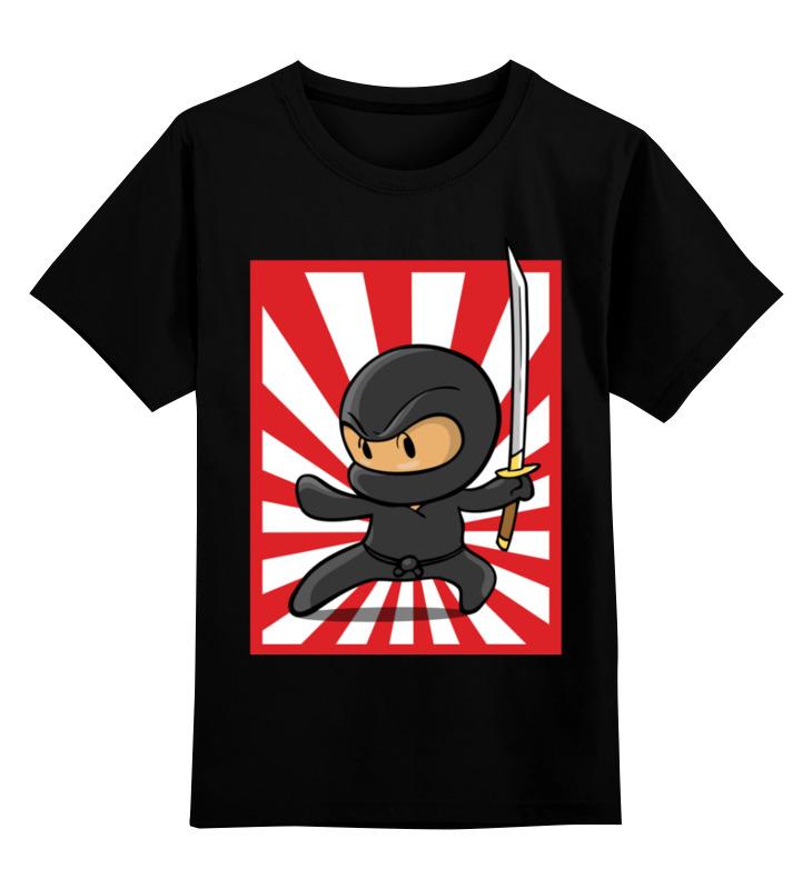 Купить 0000003362121, Детская футболка Printio Ниндзя цв.черный р.128,