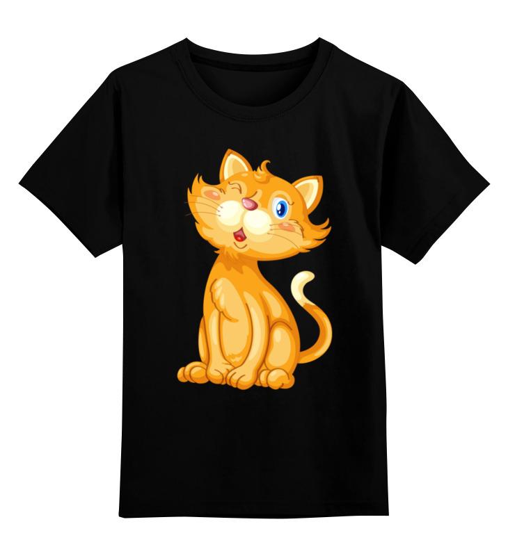 Купить 0000003323258, Детская футболка Printio Рыжий кот цв.черный р.116,