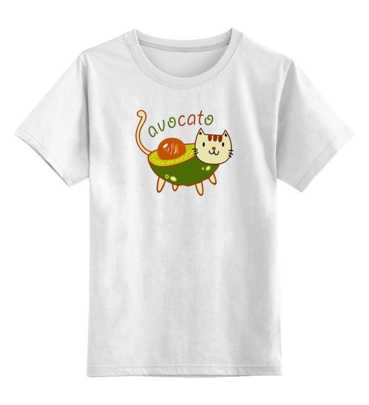 Купить 0000003383973, Детская футболка Printio Авокадо котик avocato цв.белый р.116,