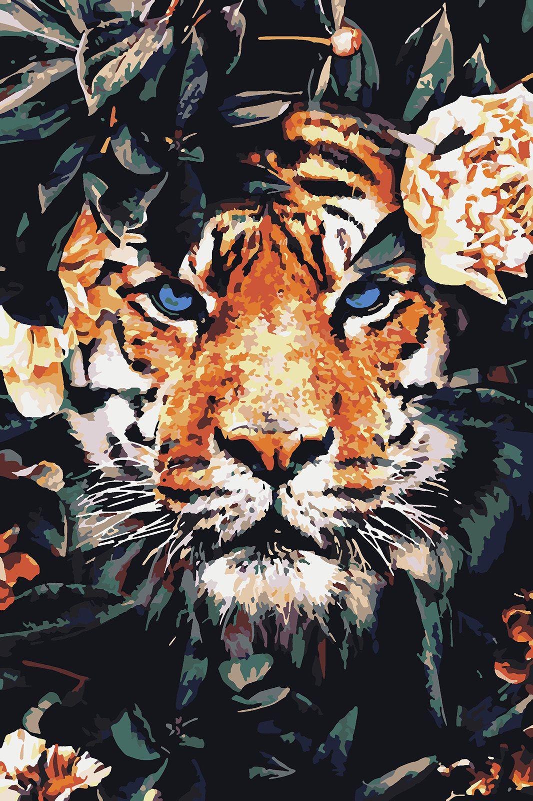 Картина по номерам Красиво Красим Тигрица в цветах, 60 х 70 см