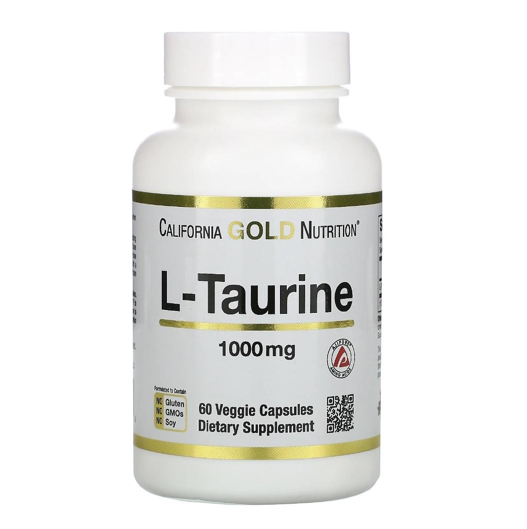 Купить L-таурин аминокислота California Gold Nutrition - L-Taurine 1000 мг капсулы 60 шт.