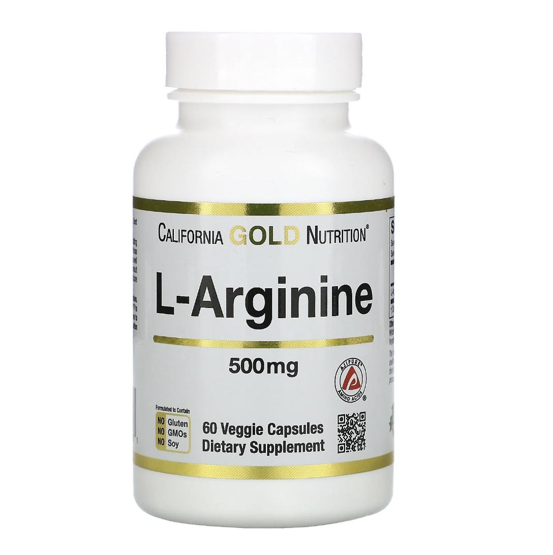 Купить L-аргинин аминокислота California Gold Nutrition L-Arginine 500 мг капсулы 60 шт.