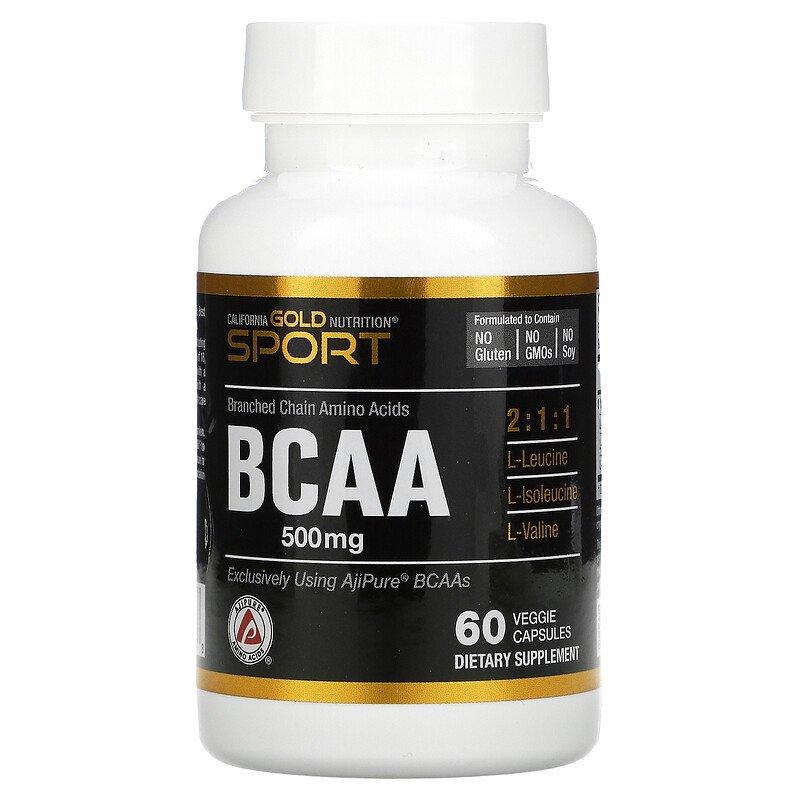 Купить BCAA аминокислоты California Gold Nutrition BCAA 500 мг капсулы 60 шт.