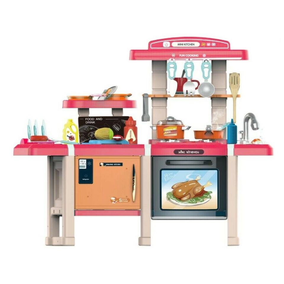 Купить Кухня детская Mist Kitchen MJL-713 (розовая) вода, свет, звук, пар 45 предметов,