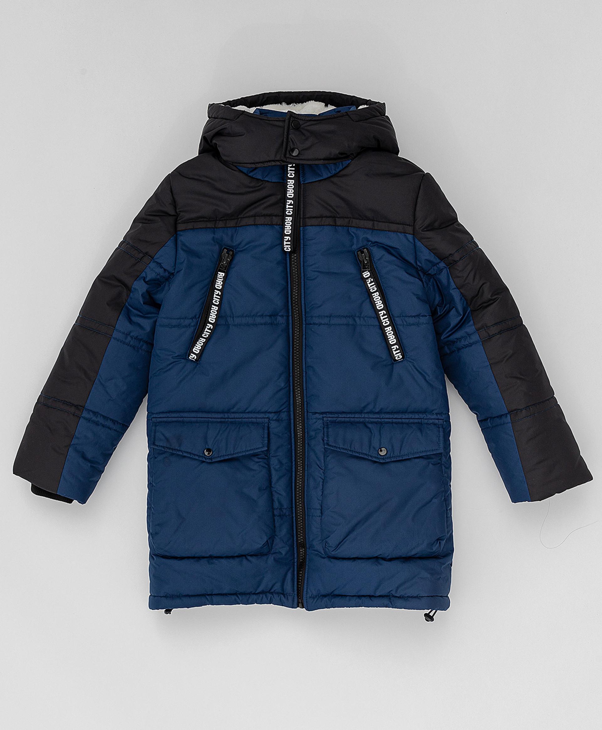 Темно синее зимнее пальто Button Blue 220BBBJC45021000,