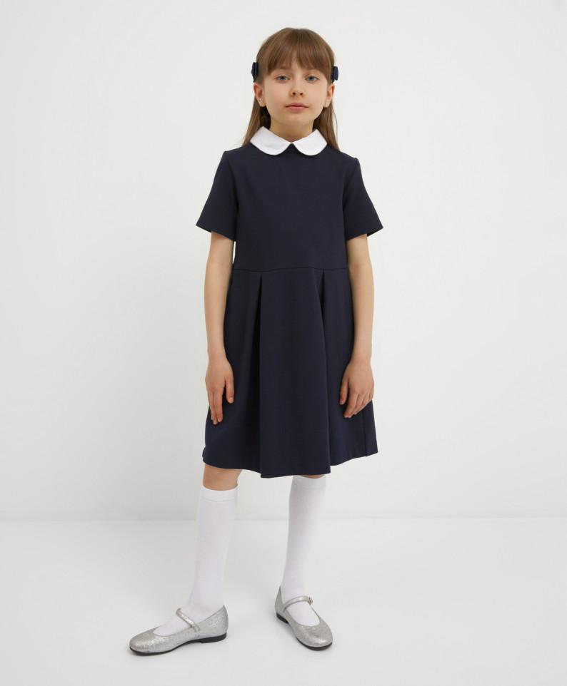 Платье темно-синее с коротким рукавом Gulliver 221GSGMC5003 р.140