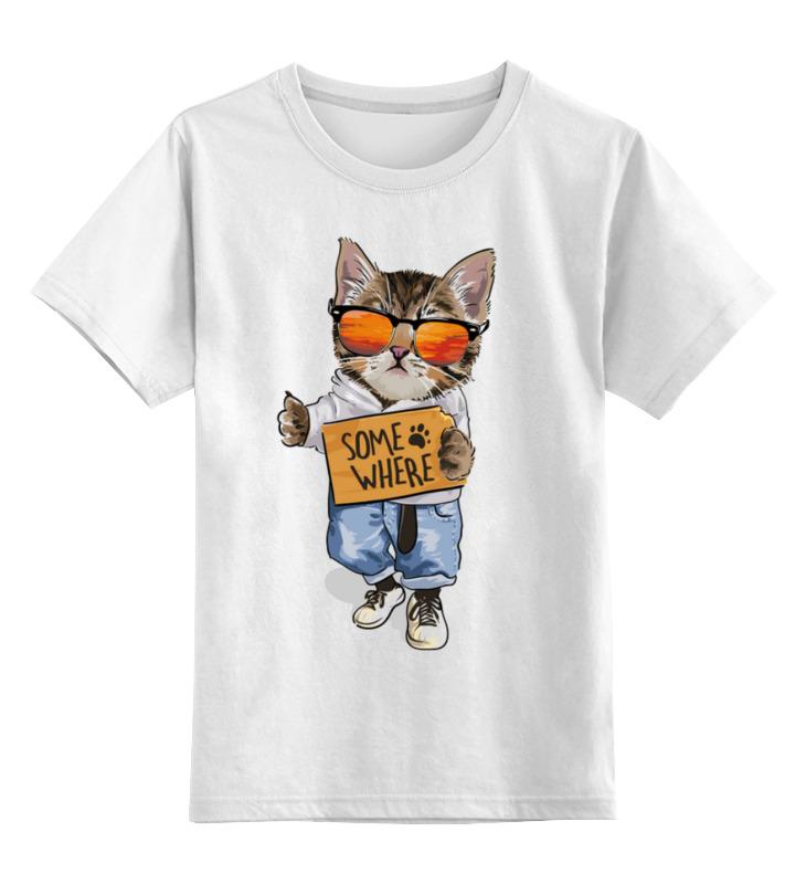 Купить 0000003318200, Детская футболка Printio Кот на стиле цв.белый р.152,